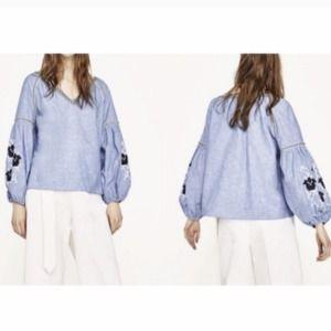 Zara Basics Embroidered Chambray Blouse